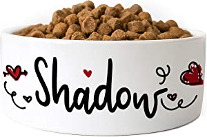 Personalized Dog Bowl w/ Name, Ceramic Bowl for Dogs and Cats, 2 Sized for Small and Large Dogs - Pet Dish for Dry or Wet Food and Water, Pet Owner Gifts, Custom Pet Food Bowl | Hearts, 6 inches