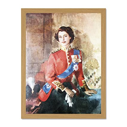 Wee Blue Coo Painting Queen Elizabeth Ii Military Regalia Portrait Art Large Framed Art Print Poster Wall Decor 18x24 Inch