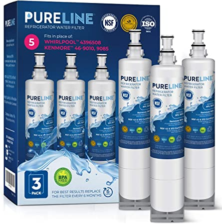 By PureLine 46-9010 Also fits W10186668 4396547 Compatible 4396508 And 4396510 Refrigerator Water Filter Replacement 4396163 46-9902 WF285 NLC240V 4392857 EDR5RXD1 8212491 3 Pack