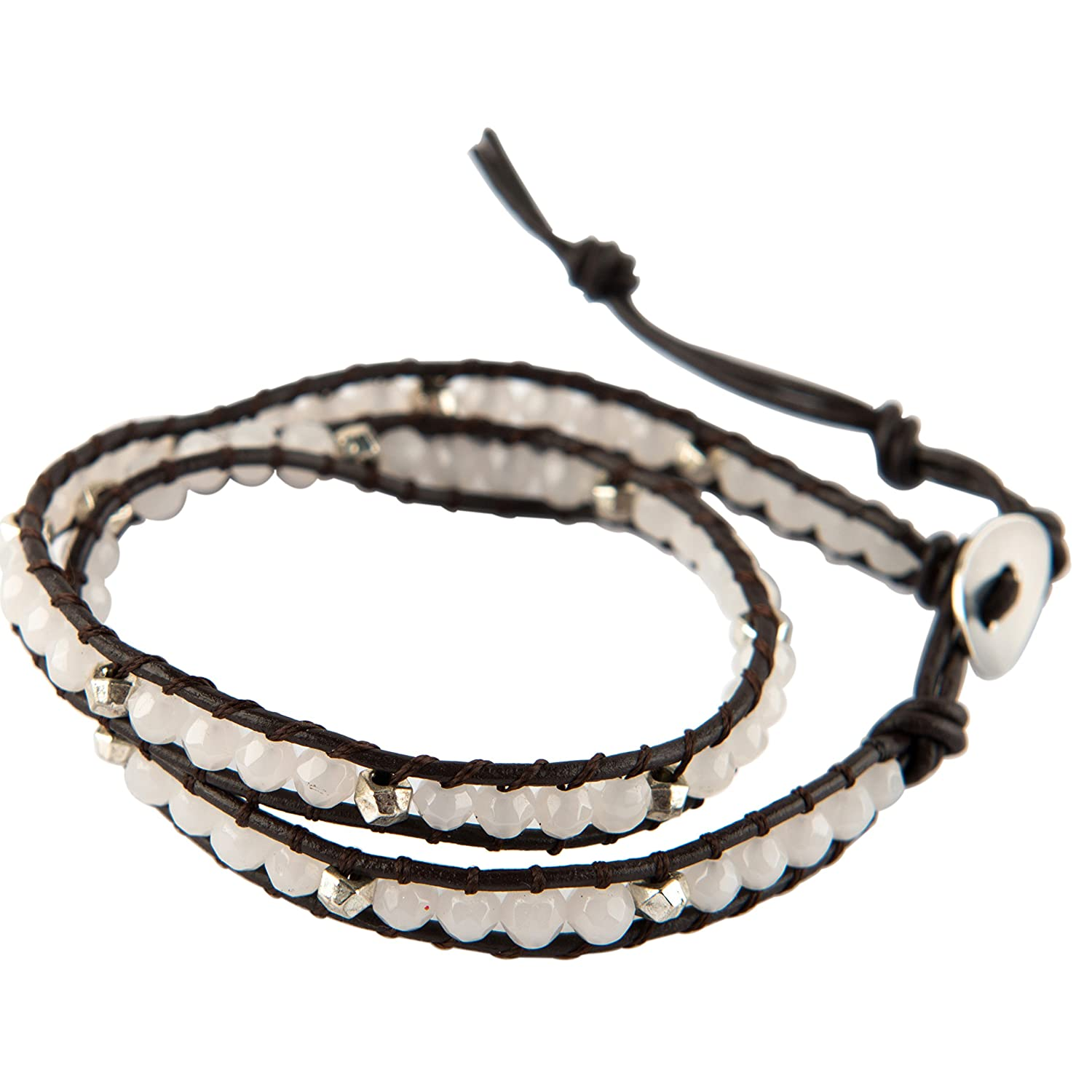 Vexed Soul Handmade Wrap Bracelet with Supple Brown Leather and Beautiful Jade and Plated Crystal Beads VS-NH-84