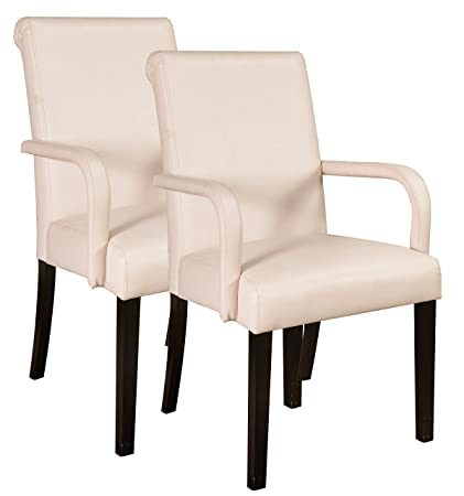Kings Brand Furniture Accent Parson Chairs With Arms U0026 Solid Wood Legs (Set  Of 2