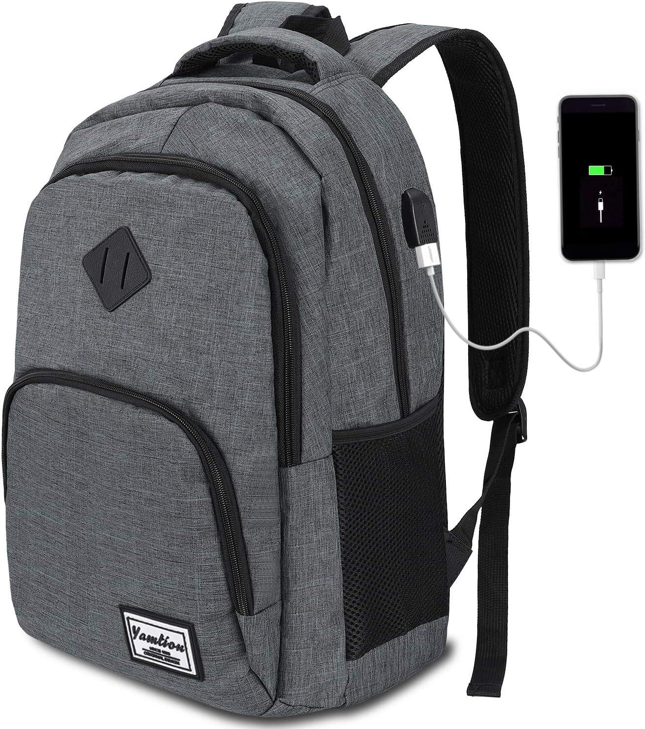 YAMTION Mochila Hombre para Portátil Mochilas Escolares Juveniles con Puerto USB Resistente al Agua 35L (15,6 Pulgadas, B6-Gris Oscuro)
