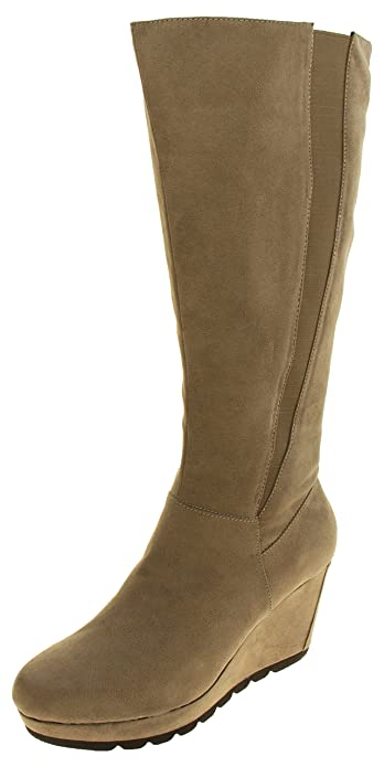 59a57e488ce S.Oliver Womens 25527-27 Beige Faux Suede Wedge Heel Knee High Boots UK