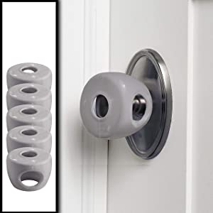 Grey - Door knob Baby Safety Cover - 5 Pack - 4 Colors Available - Deter Little Kids from Opening Doors with A Child Proof Door Handle Lock - Diddle