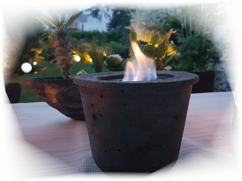 Der Perlenspieler Tischfeuer Tischfackel Tischkamin Gelfeuer Tischkamin Gartenkamin Windlicht Outdoor Betonfeuer Vintage Shabby Anthrazit