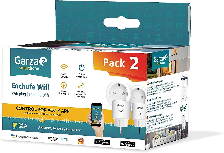 Pack de 2 Enchufes inteligentes WIFI compatibles con Alexa Enchufe por control remoto y programable controlable a trav/és de App y voz. Garza SmartHome iOS y Google Home