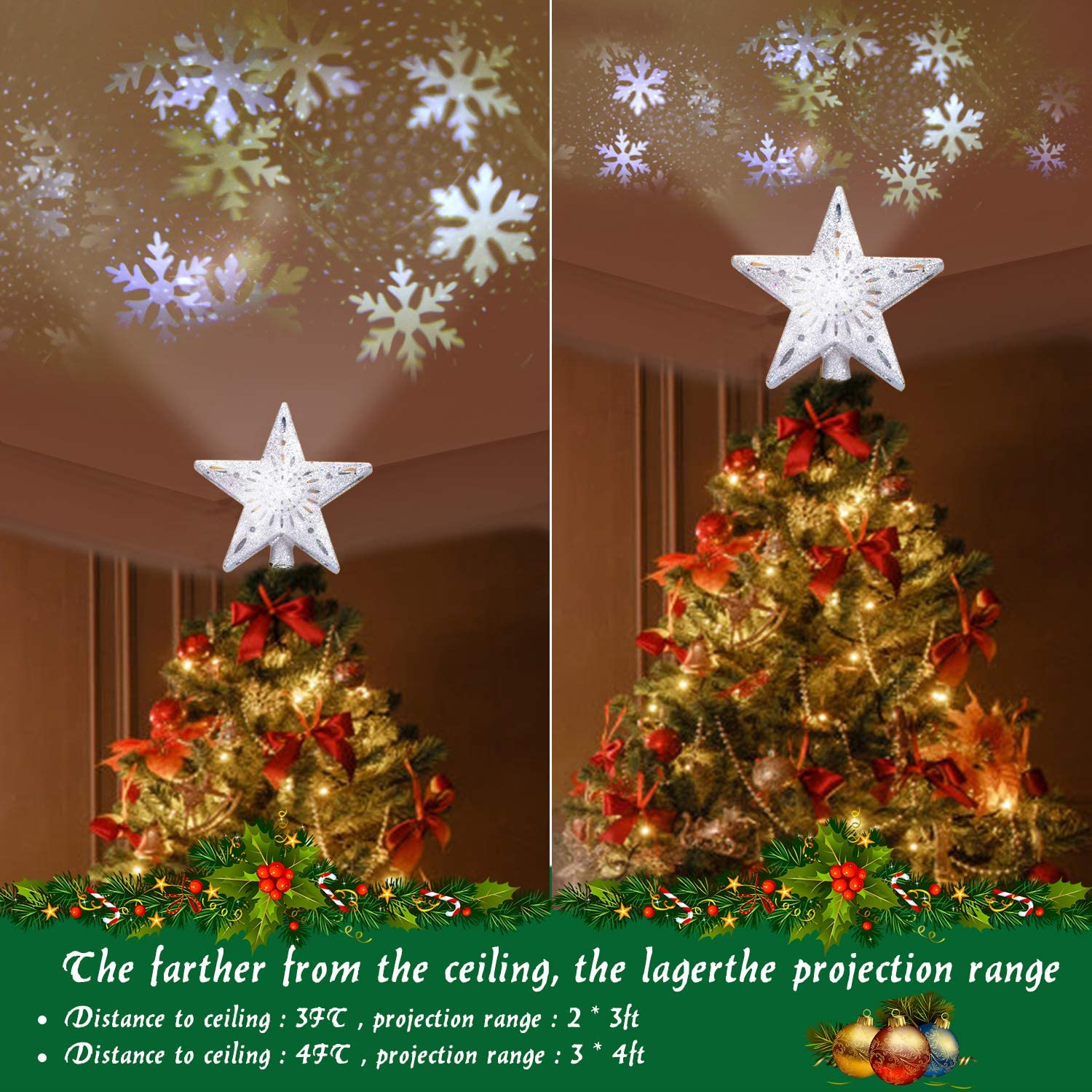Amazon Com Yostyle Christmas Tree Topper Lighted With Led Snowflake Projector Lights Lighted Star Tree Topper For Christmas Tree Decorations Kitchen Dining