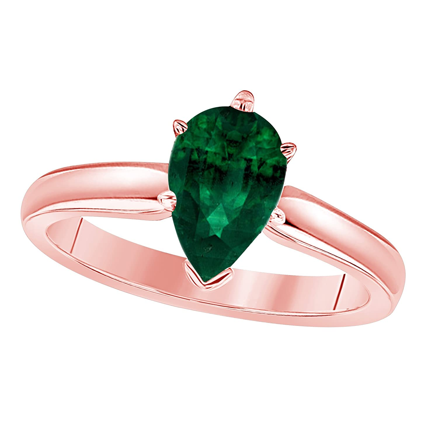 Jewelryhub 14k Rose Gold Plated Sterling Silver Pear Cut Created Green Emerald CZ Solitaire Engagement Ring 1.75 CTW For Womens