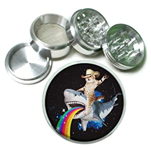 Cat Bucking Puking Rainbow Shark Funny Weird 4 Pc. Aluminum Tobacco Spice Herb Grinder