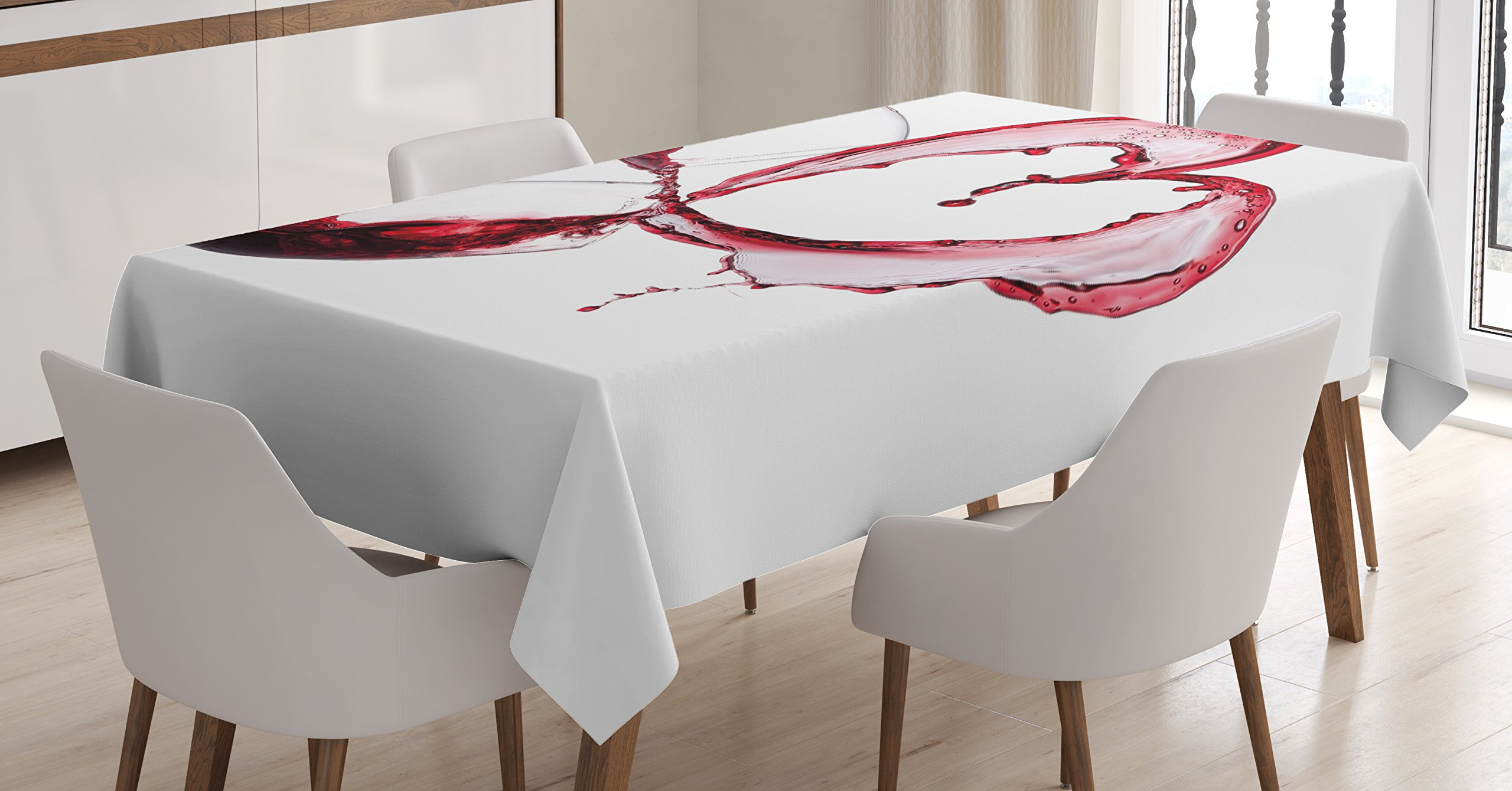 Ambesonne Wine Tablecloth, Heart with Spilling Red Wine in Glasses Romantic Love Valentines Day Concept, Dining Room Kitchen Rectangular Table Cover, 60 W X 84 L inches, Burgundy White Pink by Ambesonne (Image #1)