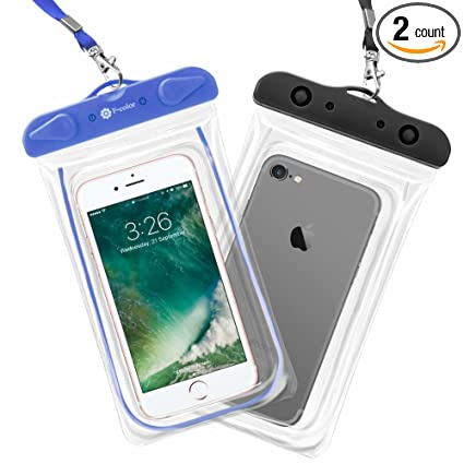 F-color Waterproof Case, 2 Pack Waterproof Phone Pouch Universal Floating  Dry Case Beach Bag Supports iPhone X 8 7 Plus Home Button for iPhone,  Google