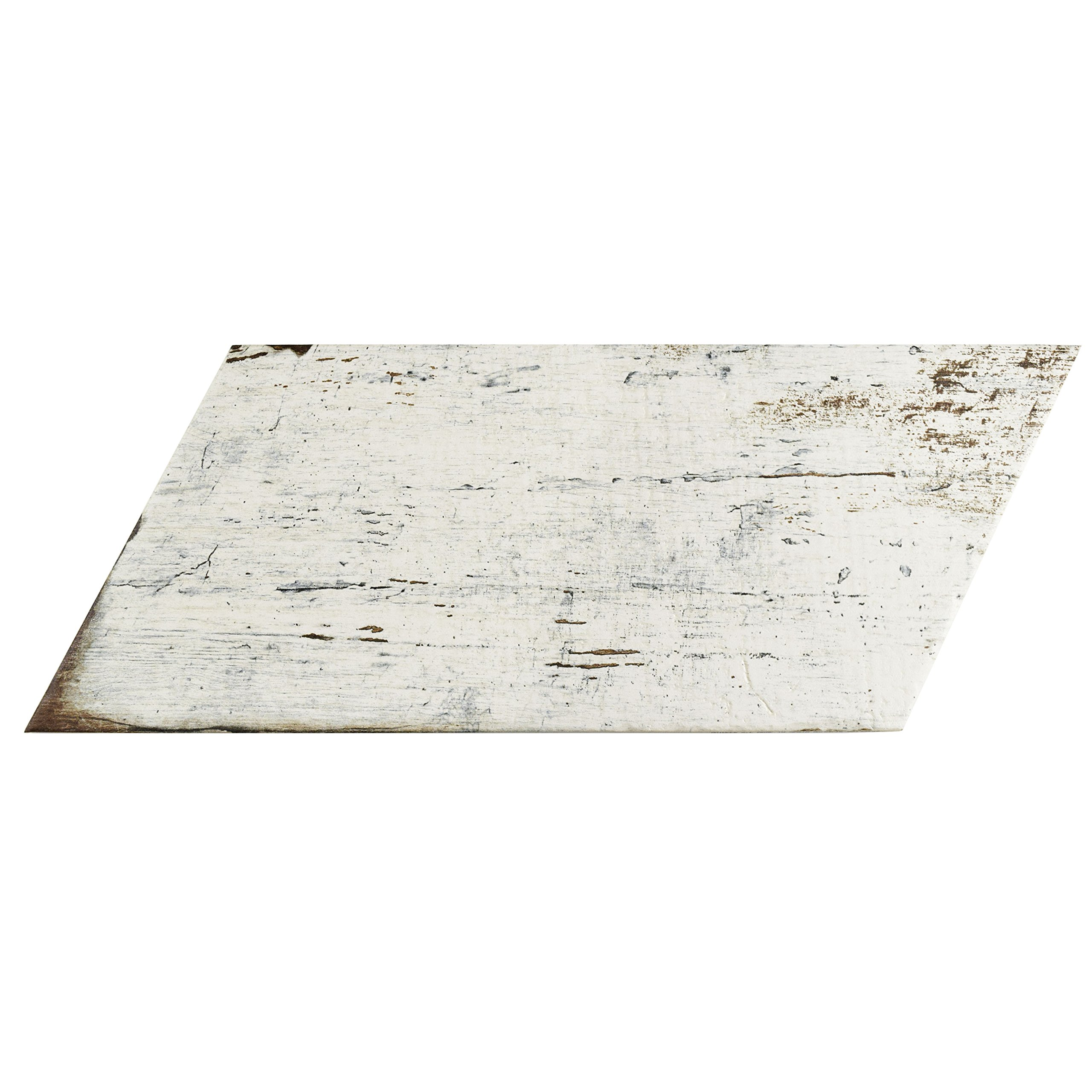 SomerTile FNURTNBL Vintage Naveta Porcelain Floor & Wall Tile, 7.125'' x 16.375'', Blanc,,, White, Brown by SOMERTILE