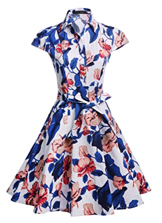 86589ac3730f TENCON Womens Retro Style Blue and White Floral Print Vintage Summer Shirt  Dress for