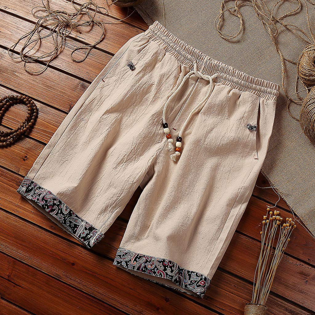 acction Mens Summer Bottom Unique Print Pockets Drawstring Beach Short Plus Size Cotton Short Party Shorts