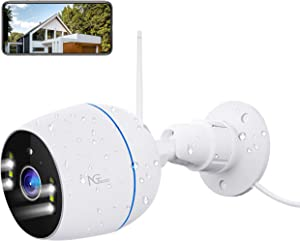Security Camera Outdoor, NGTeco 1080P HD 2.4G WiFi Wireless Cameras for Home Security - Floodlight Waterproof Bullet Surveillance IP Cam with Sensor Night Vision, 2-Way Audio, Cloud/SD Storage