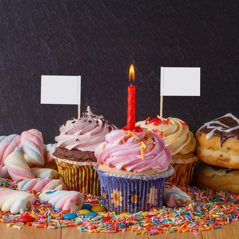 alimenti torte 3,5 x 2,5 cm 100 etichette bianche per stuzzicadenti per cupcake formaggi panini