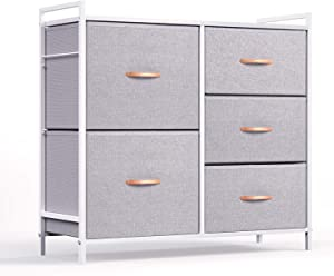 ROMOON Dresser Organizer with 5 Drawers, Fabric Dresser Tower for Bedroom, Hallway, Entryway, Closets - Gray