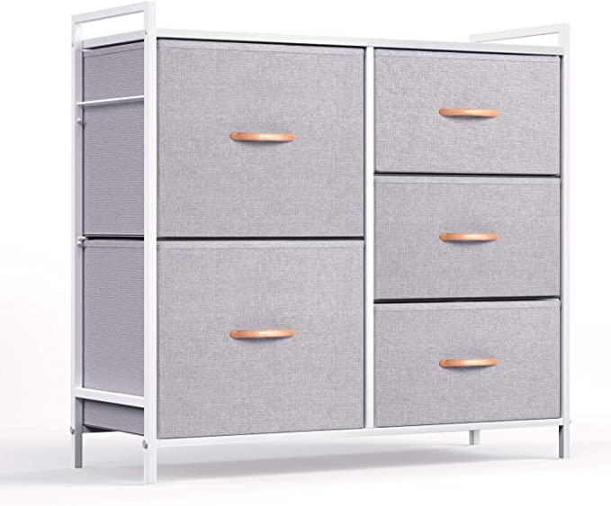 ROMOON White and Gray Dresser Organizer with 5 Drawers