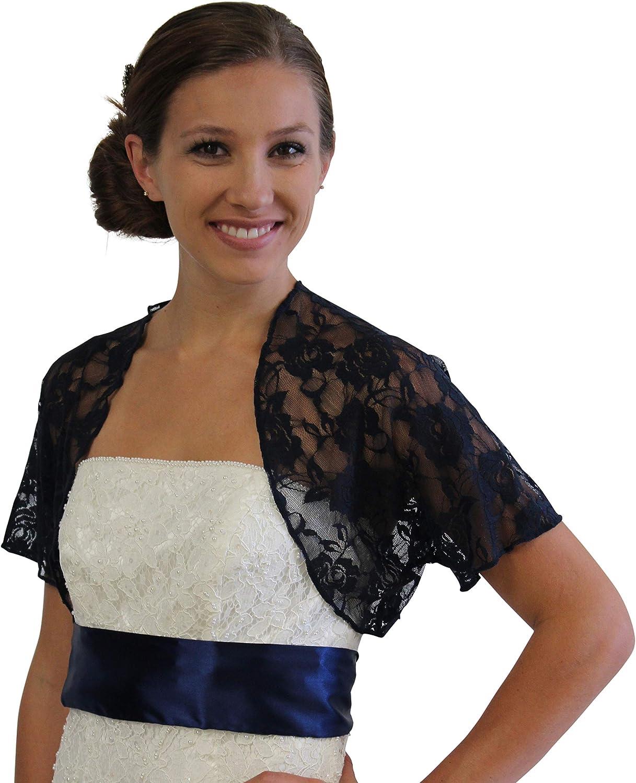 Navy Blue Lace Bolero Short Sleeve Size 14