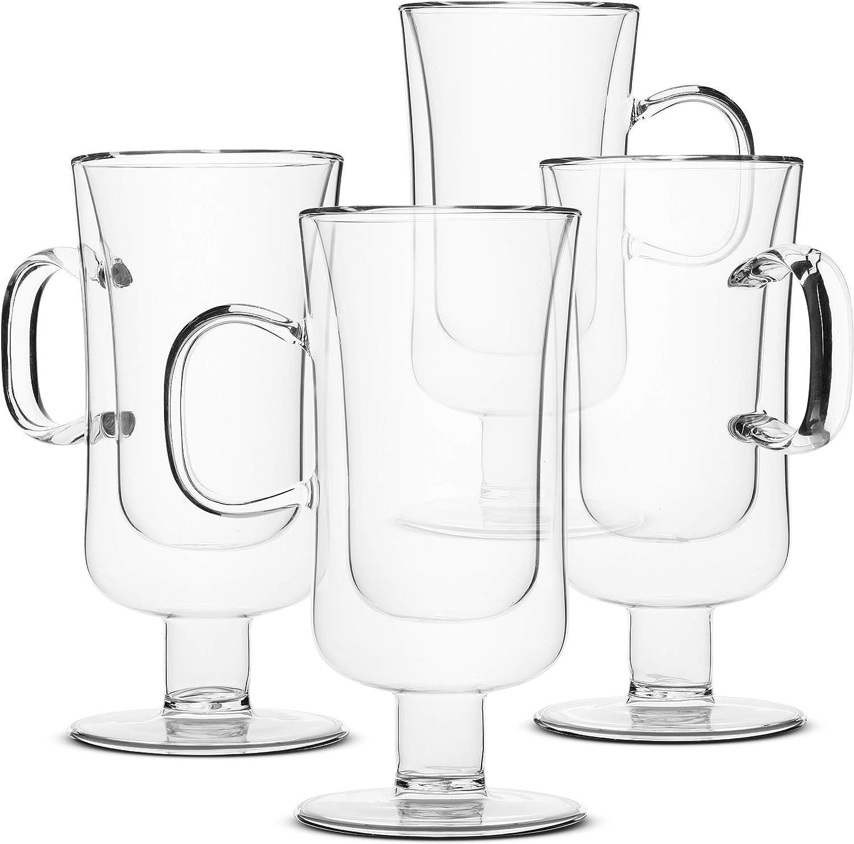 BTäT- Irish Coffee Mug, Coffee Glass, Set of 4 (10oz, 300ml), Double Wall Glass Irish Coffee Cup, Tea Cups, Latte Cups, Glass Coffee Mug, Beer Glasses, Latte Mug, Clear Mugs, Glass Cups, Glass Tea Mug