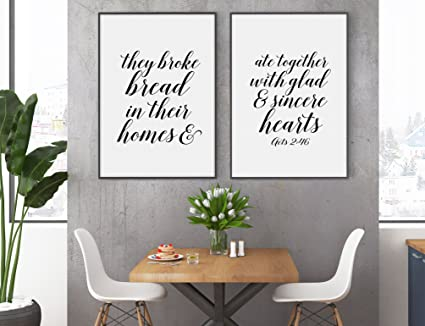 They Broke Bread In Their Homes Artwork Acts 246 Set Of 2