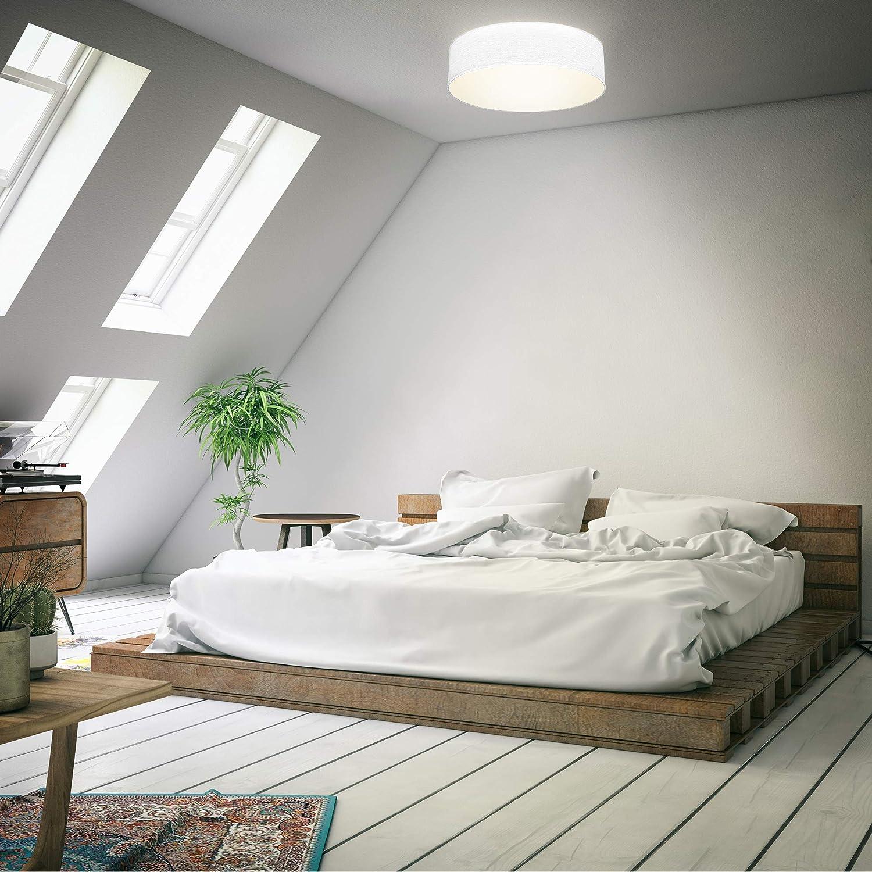 /éclairage bureau livr/é sans ampoules /éclairage plafond design moderne /& sobre 2 douilles E27 rond /Ø38cm B.K.Licht plafonnier textile couleur taupe