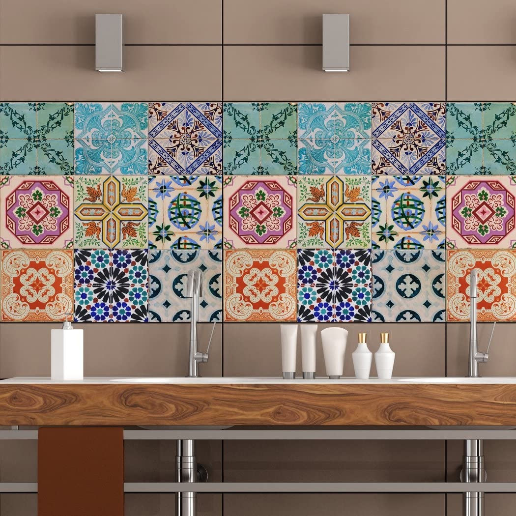 Amazon Com Royalwallskins Portuguese Tile Decals 4x4 Inch Set Of 16 Self Adhesive Peel Stick Vinyl Adhesive Tiles Stickers For Staircase Home Decor Sevilla Tad160522 Home Kitchen