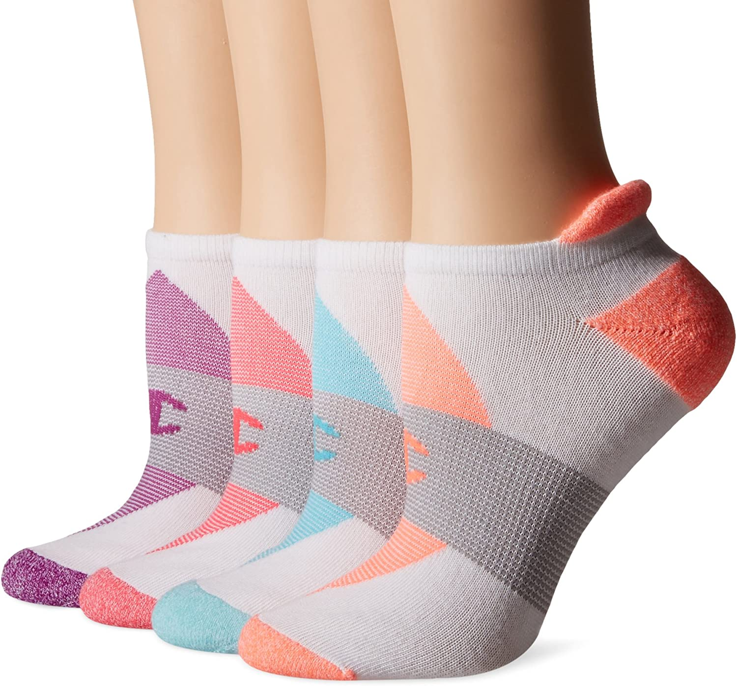 Champion Womens Double Dry 4-Pack Performance Heel Shield Socks