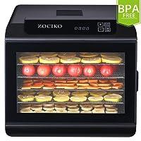 zociko Dörrautomat, Dörrgerät Früchtetrockner Dörrapparat Obsttrockner mit Temperaturregler von 35-70 Grad Celsius, LCD Bildschirm, Timer, BPA Frei