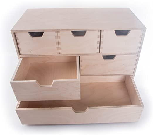 SEARCHBOX - Caja de Madera para Escritorio (6 cajones), Organizador de Belleza y Almacenamiento, 42 x 20,5 x 28 cm: Amazon.es: Hogar