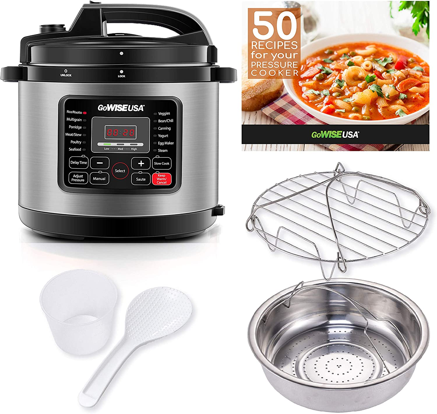 GoWISE USA GW22711 6-Quart 12-in-1 Multi-Use Programmable Pressure Cooker, Slow Cook, Rice, Steamer, Saute, Yogurt Maker, and Warmer, Stainless Steel, 6-Qt