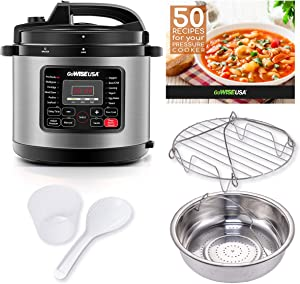 GoWISE USA 12-in-1 Multi-Use Electric Pressure Cooker with Stainless Steel Pot Measuring Cup, Spoon, Steam Rack and Basket, 8-Qt