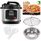 GoWISE USA 12-in-1 Multi-Use Electric Pressure Cooker with Stainless Steel Pot Measuring Cup, Spoon, and Stainless-Steel Stea