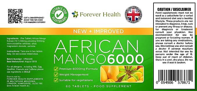 AFRICAN MANGO 6000 * MAX Fuerza Quemador De Grasa * 60 Tabletas 6000mg Muy Fuerte Dieta de Adelgazamiento Comprimidos Formulados Especialmente Para la ...