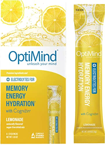 OptiMind Memory Energy Sugar-Free, Electrolyte Water Booster for Nootropics, Vitamins, Memory Natural Lemonade Flavor, 8 Pack