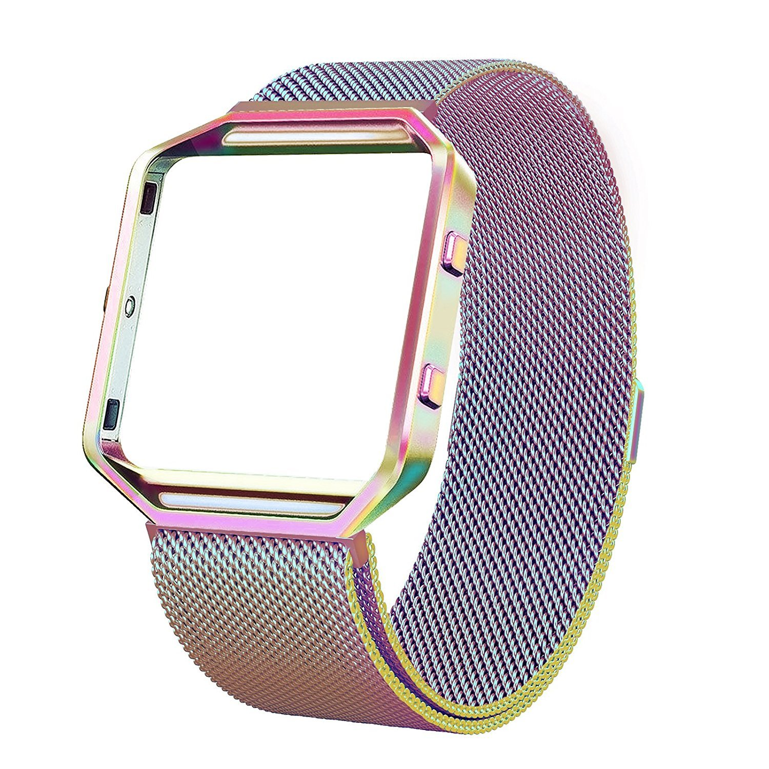 Colorful Black Stainless Steel Replacement Adjustable Band with Metal Frame for Fitbit Blaze Women Men Champagne Gold Rose Gold Silver Andyou Fitbit Blaze Band with Frame