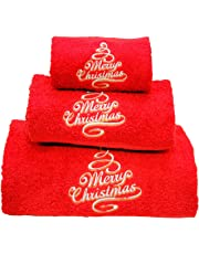 BgEurope Xmas Set of 3 embroidered red bath towels – Ref. Merry Christmas