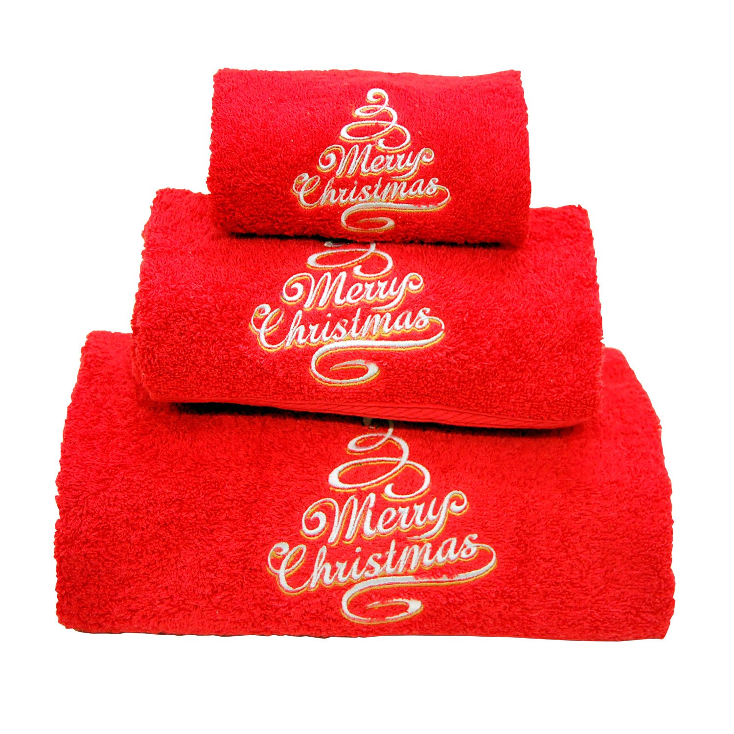 Xmas Set of 3 embroidered red bath towels – Ref. Merry Christmas Maria Teixeira e Andrade Lda