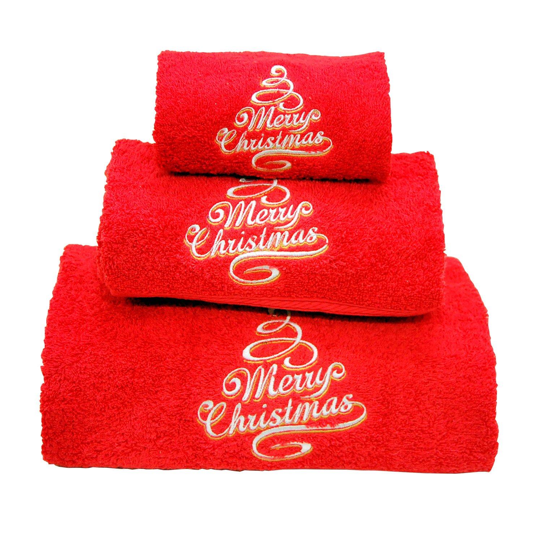 Xmas Set of 3 embroidered red bath towels – Ref. Merry Christmas Maria Teixeira e Andrade Lda