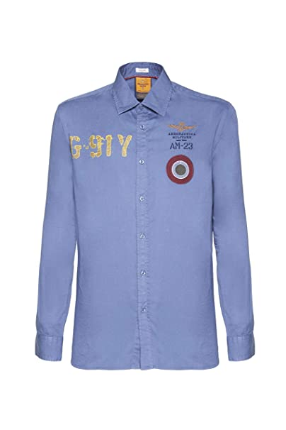 Aeronautica Militare Camisa CA1128, Azul Azul, Hombre, Polo ...