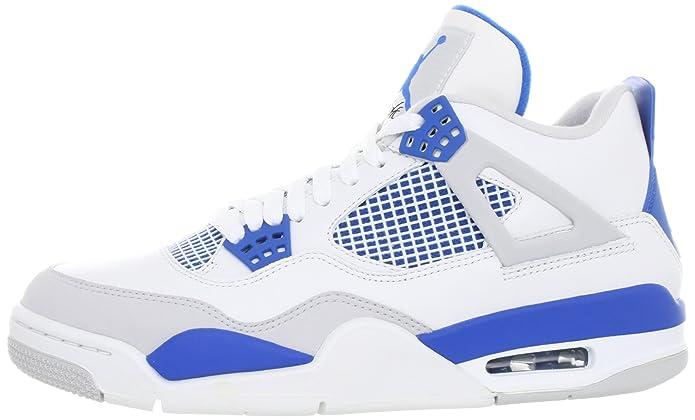 timeless design 3585e bd451 NIKE Mens Air Jordan 4 Retro Military White/Military Blue Leather