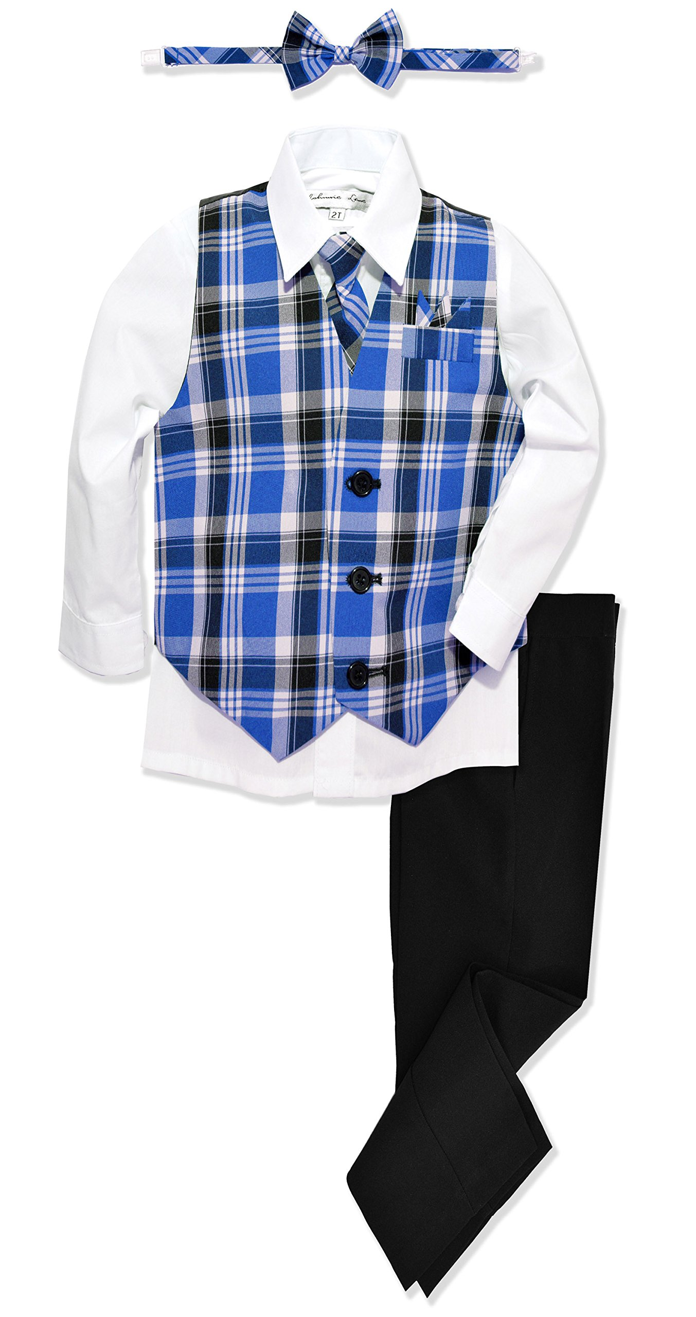 JL46 Boys Formal Plaid Dress Wear Vest Set (4T, Royal)