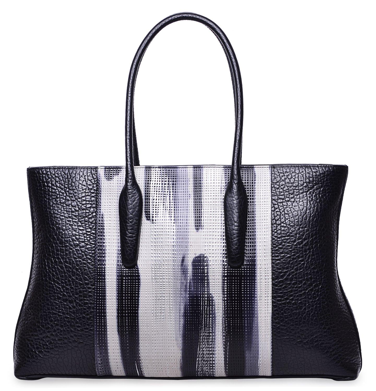 PIJUSHI Womens Shoulder Handbag Large Designer Leather Tote Bag (27005, Black)