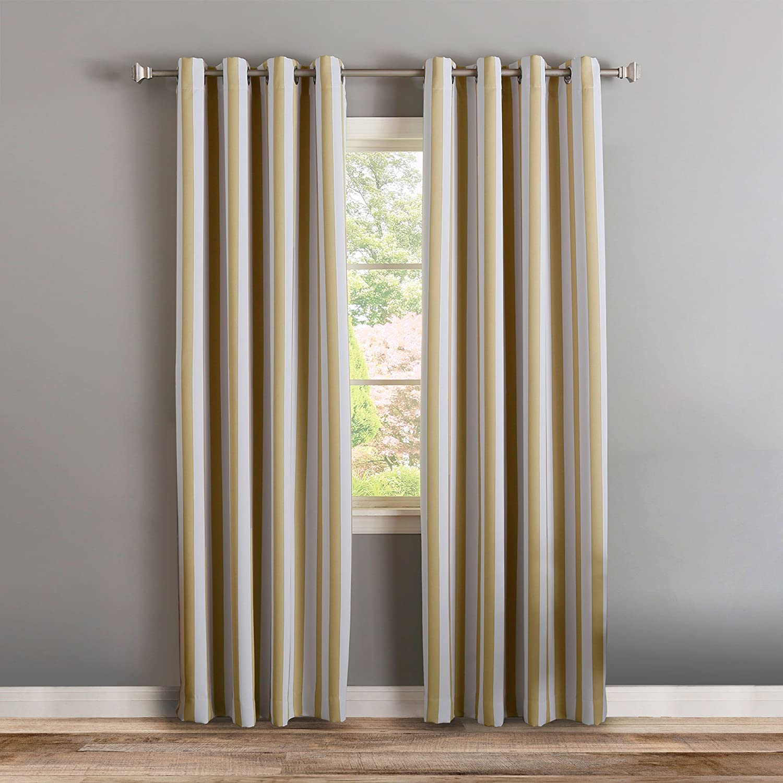 Best Home Fashion Room Darkening Vertical Stripe Curtains – Stainless Steel Nickel Grommet Top – Beige – 52 W X 84 L – Set of 2 Panels