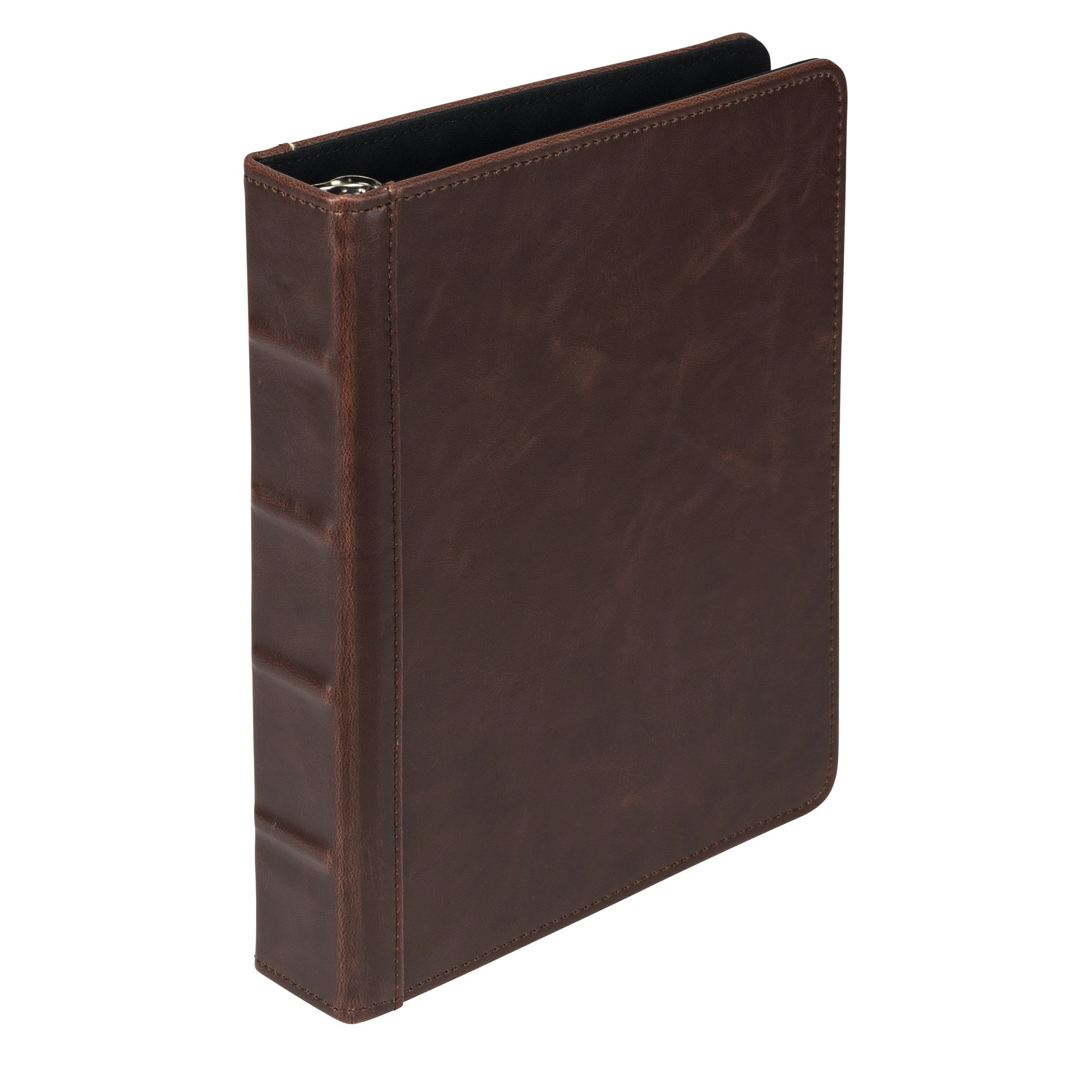 Samsill 5 1/2'' x 8 1/2'' Book Style Mini Ring Binder with 1'' Capacity Rings and No Zipper, Vintage Style Hardback Cover in Dark Brown by Samsill