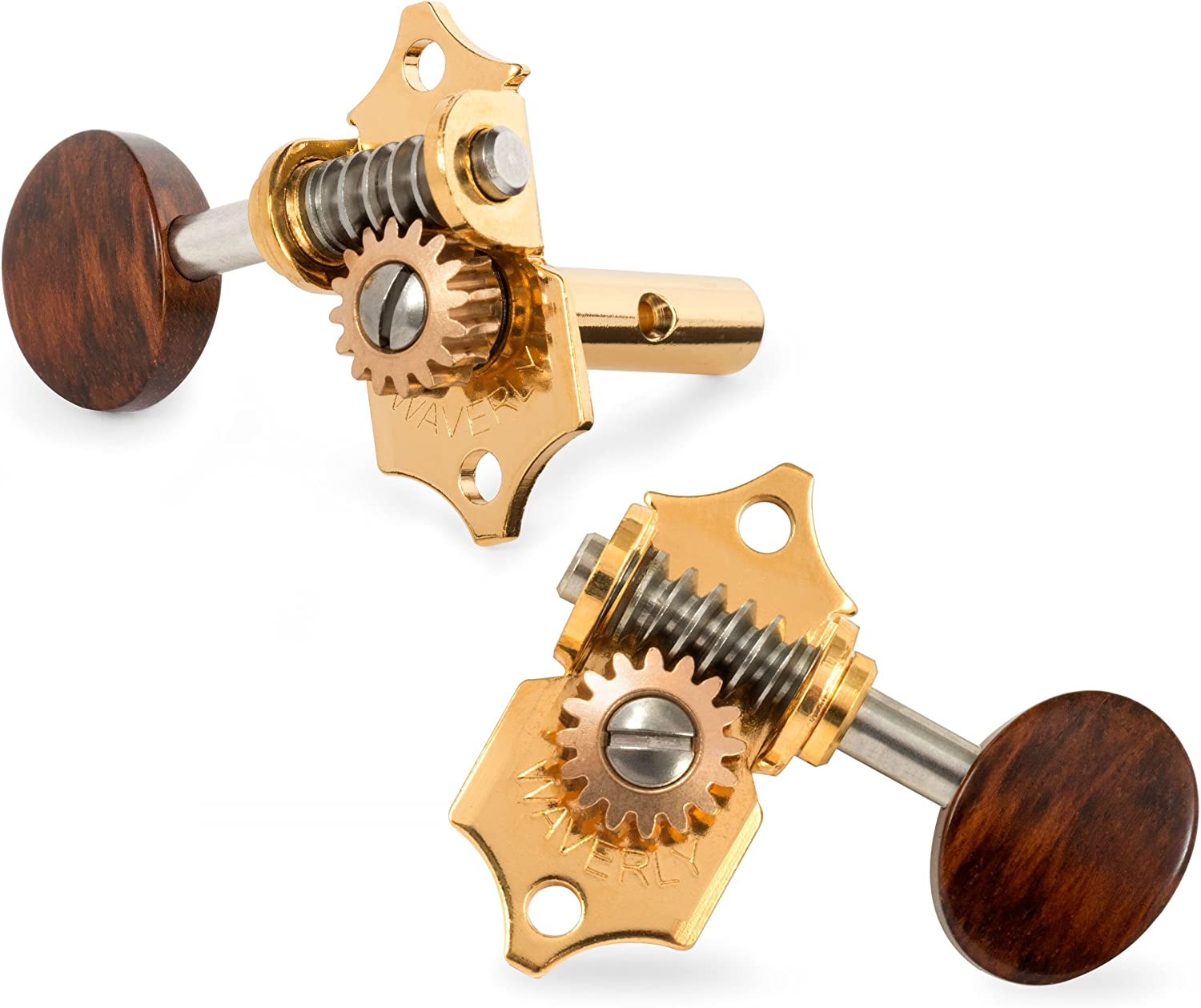 Waverly Guitar Tuners with Snakewood Knobs for Slotted Pegheads 3L//3R Gold