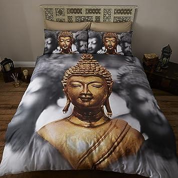 Buddha Design Photo Print Bettwäsche-Set für Einzelbett, grau NEU ...