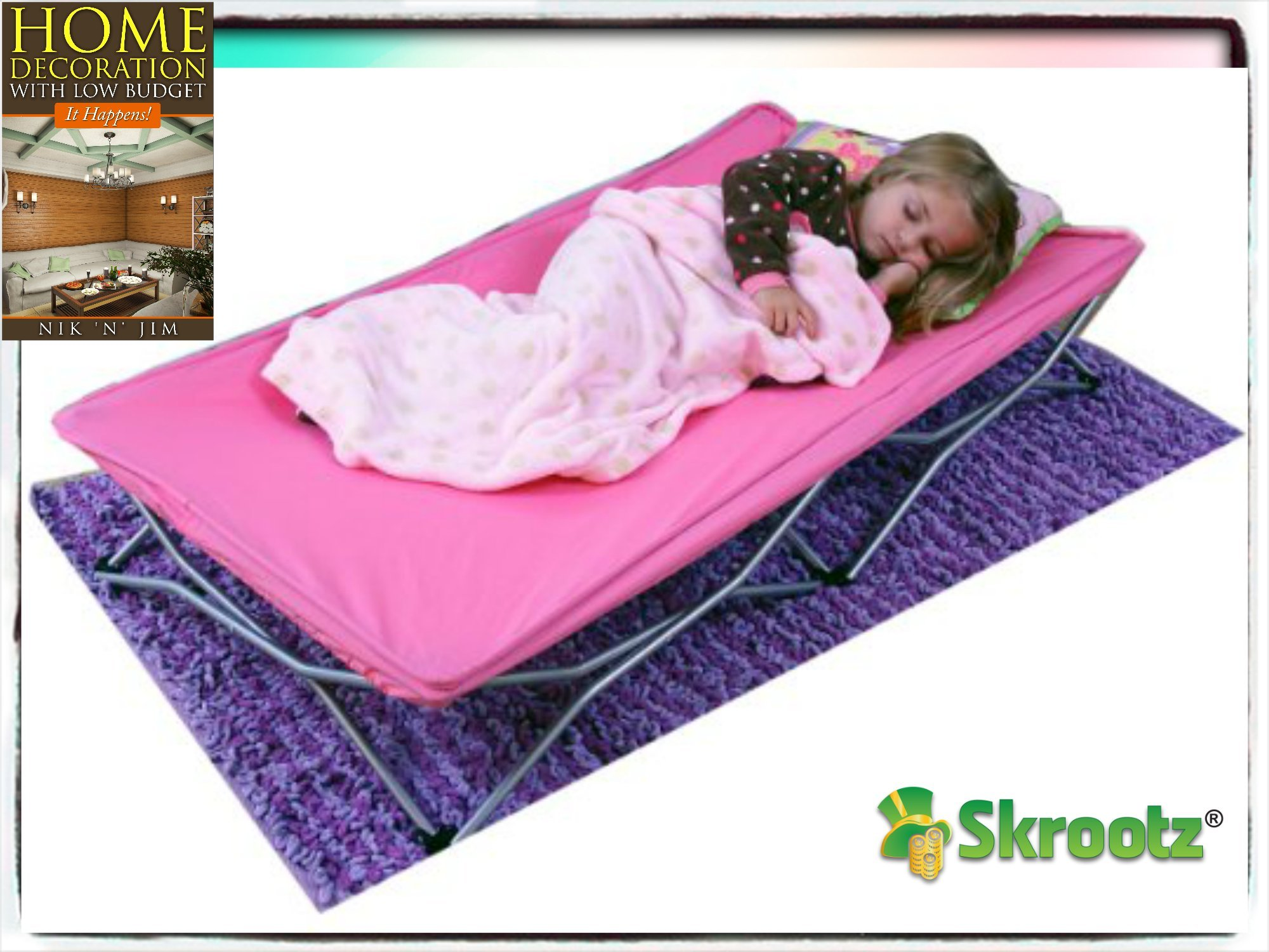 Portable Toddler Bed Cot Travel Kids Camping Folding New Baby Child Regalo Pink New Guarantee by Skroutz - It Comes Only with Skroutz Unique Ebook by Skroutz