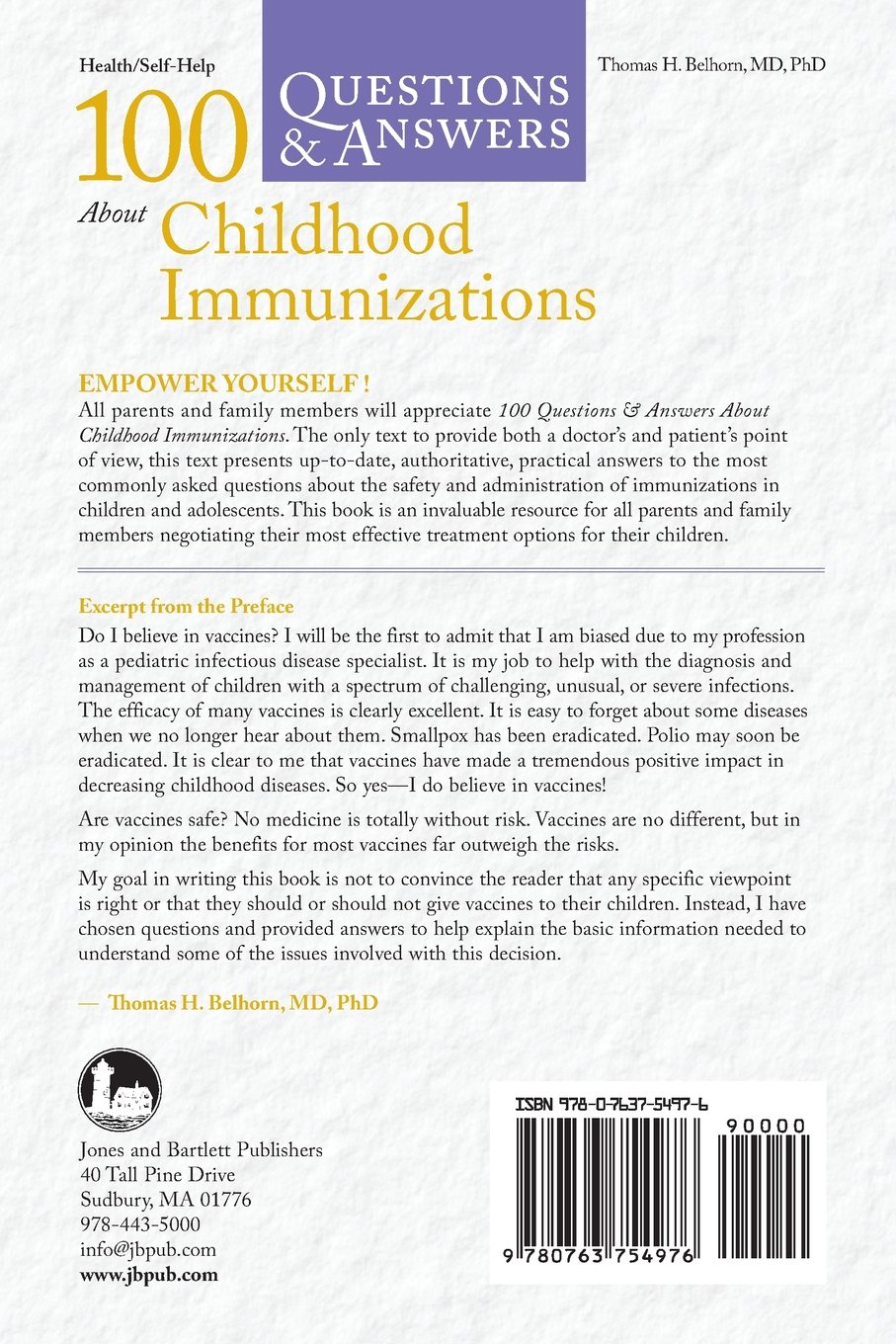 100 Questions & Answers About Childhood Immunizations: Thomas H. Belhorn:  9780763754976: Amazon.com: Books