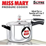 Hawkins Miss Mary Aluminium Pressure Cooker, 5 litres, Silver